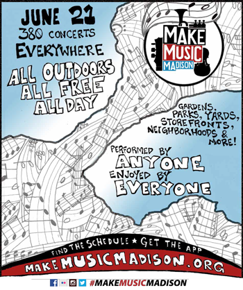 "Hand drawn image of the central isthmus as a map created by sweeping, overlapping sheet music notation. Blue to white faded lakes give space for text ""Performed by Anyone, Enjoyed by Everyone"" and a badge inset near the top of the image shows the Make Music Madison logo, introduced in 2013, and developed by KW2"