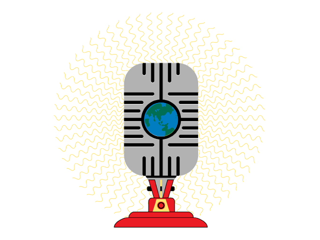 Illustration by Daniel Greenfeld of a global microphone