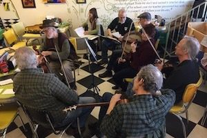 folk ensemble in a circle