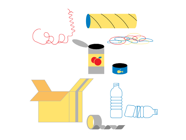 Illustration by Daniel Greenfeld of objects you could use to make musical instruments