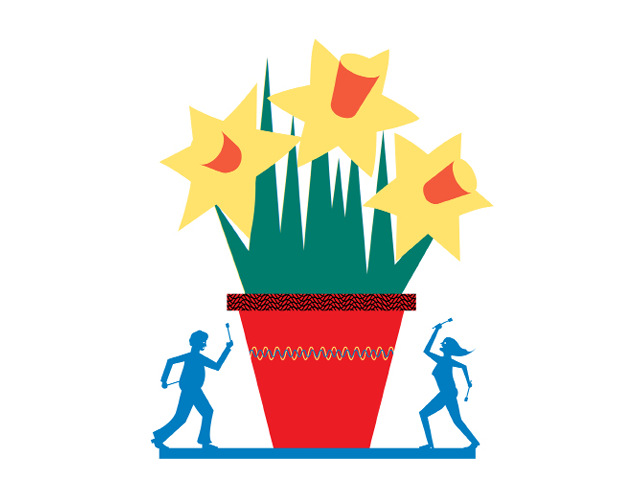 Illustration by Daniel Greenfeld of small figures making music with a flowerpot