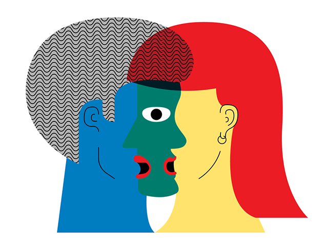 Illustration by Daniel Greenfeld of two singers overlapping
