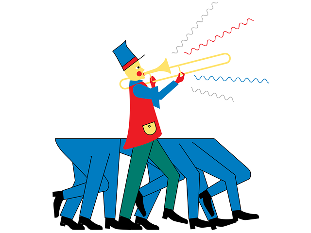 Illustration by Daniel Greenfeld of a one-person marching band