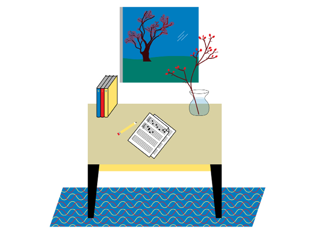 Illustration by Daniel Greenfeld of a composer's writing desk