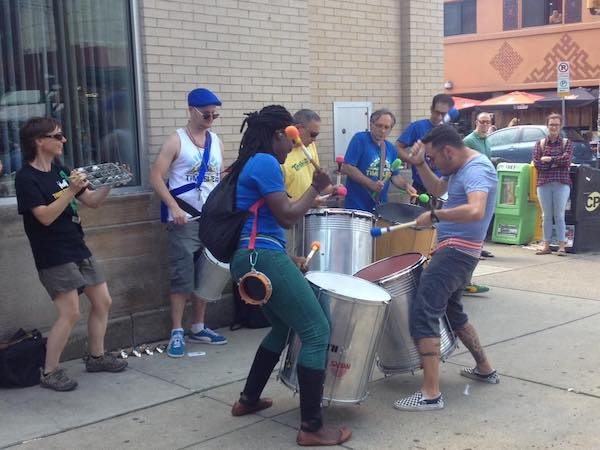 Percussionists playing on the street in Pittsburgh PA
