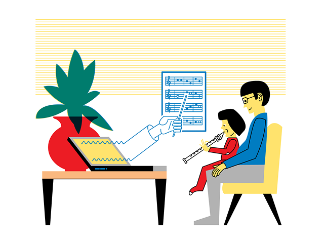 Illustration by Daniel Greenfeld of an online music lesson