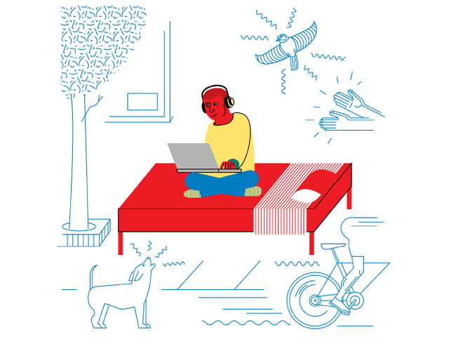 Illustration by Daniel Greenfeld of a producer mixing sounds in bed