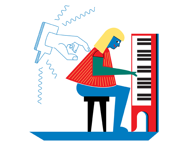Illustration by Daniel Greenfeld of a finger tapping on a pianist's back