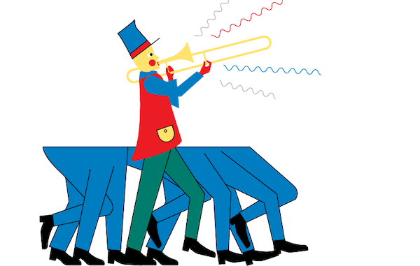 Illustration of a one person marching band