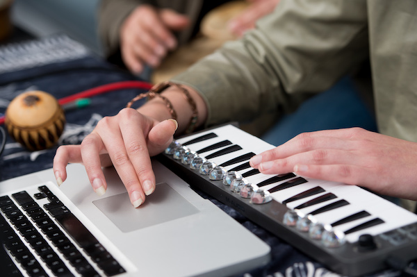 Close up of a producer at a Harman street studio from Make Music Day 2016