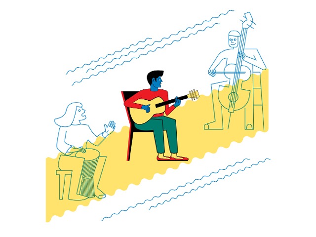 Illustration by Daniel Greenfeld, musicians collaborating on a track