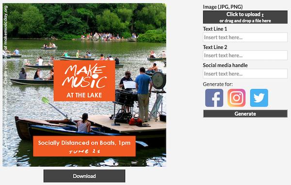 """Sample social media poster of """"Make Music At The Lake"""""""
