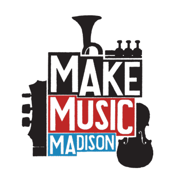 words Make Music Madison stacked on top of each other in blocky space with Make on black, Music on red, and Madison on blue. The blocky text is surrounded by black filled shapes representing parts of a violin, trumpet, and guitar.