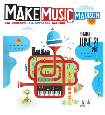 Image features two lakes coming in from left and right, with a central red winding horn that frames a keyboard, guitar, buildings, bike paths, and greenspace, and ending in a horn bell that acts as a pedestal for the capitol dome.