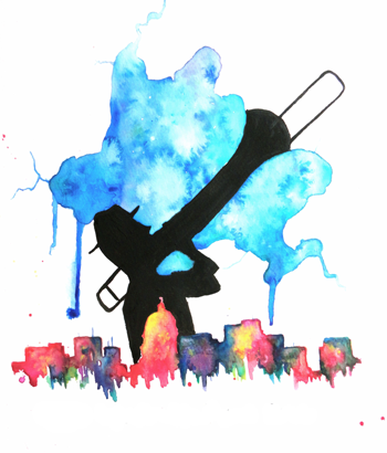 Ink and watercolor image of Madison's lakes with the isthmus defined by a sillhouette of a trombone player, and a city skyline in bright watercolors across the bottom. Artist, Ali Brooks