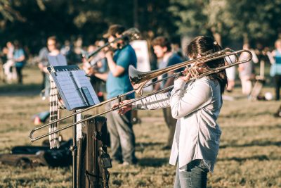 Trombone Player in Field