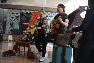 Duo, Stereo RV, performing at airport