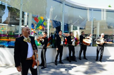Mariachi group performing on downtown San Jose walkway