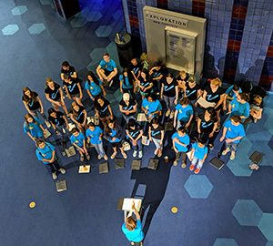 Photo of youth chorus from above