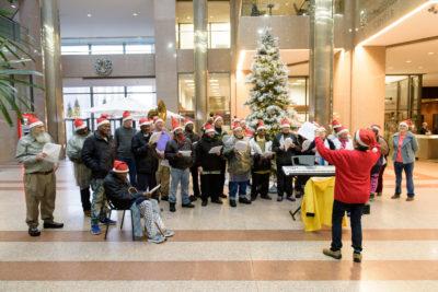 "Music Moves Hartford ""Downtown Singers"" singing Christmas carols."