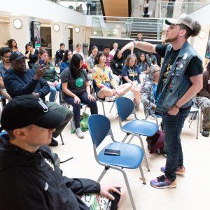 Justis Lopez at the forefront of the Hip Hop Lyric workshop.